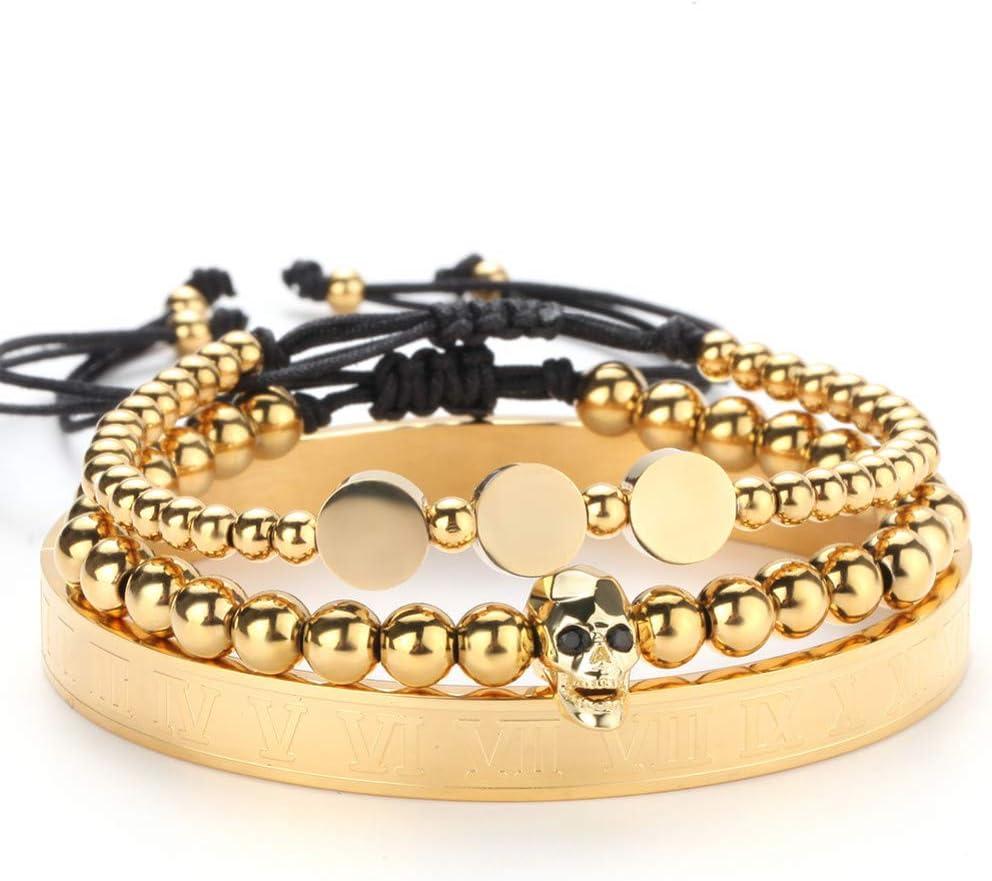 N/ A Pulsera de Oro Hombres Corona Cráneo Corazón Pavimentar Cz Circón Cuentas de Acero Inoxidable Pulsera Trenzada Trenzada Joyería de Oro