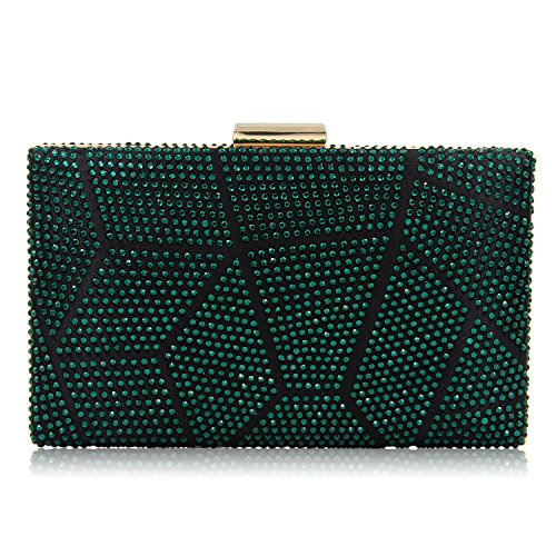 Sparkling Multicolorded Beaded Rhinestone Evening Clutch Handbag Cocktail Clutch Purses Prom For Women (Green)