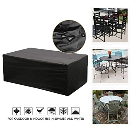 Cubierta de Muebles de Jard/ín Fundas de Muebles Impermeable Resistente al Polvo Anti-UV Protecci/ón Exterior Muebles de Jard/ín Cubiertas de Mesa y Silla Negro