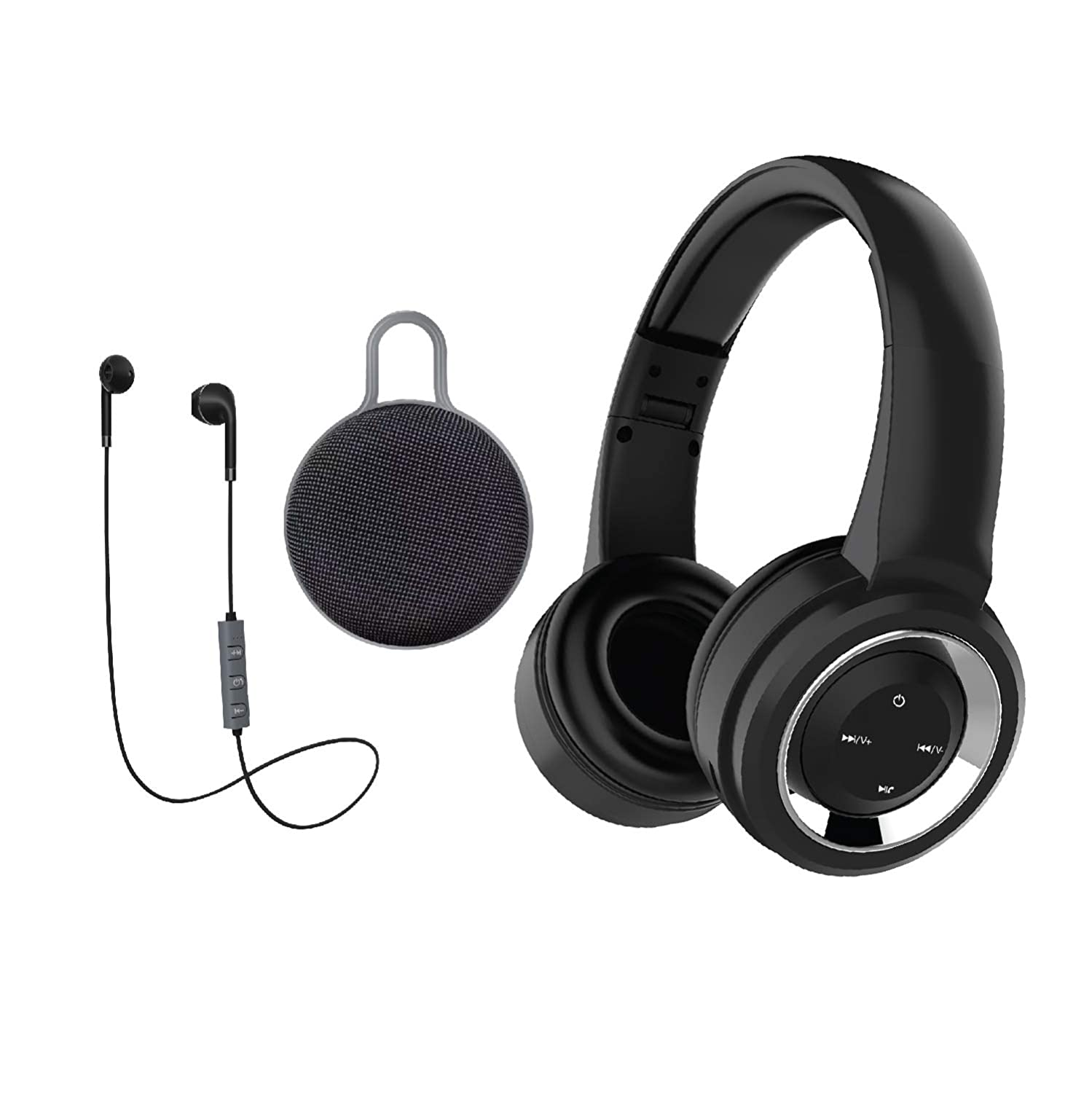 Gabba Goods 3 Piece Gift Set Premium LyriX Wireless Bluetooth Volume Control Over The Ear Comfort Padded Stereo Headphones | Earphones |Bluetooth Ear Buds & Stereo Speaker - Black