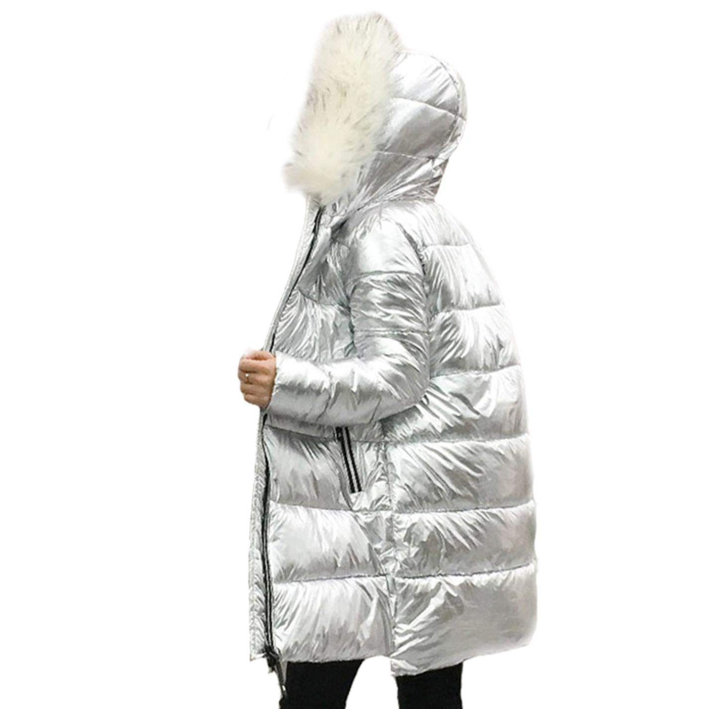 Amazon.com: NaOBi Women Warm Fur Collar Silver Down Jacket Mid-Length Silver Down Coat Hooded: Clothing