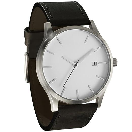 Amazon.com: Seamount Popular Low-key Minimalist Connotation Leather Mens Quartz Wristwatch (D): Cell Phones & Accessories