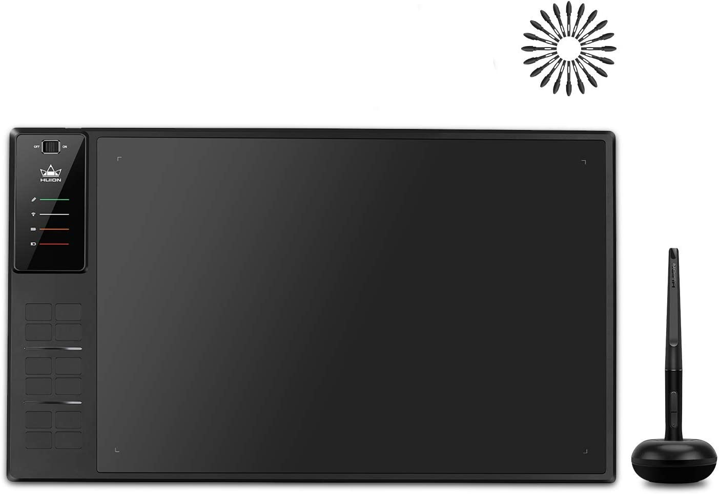Huion Inspiroy WH1409 V2 Wireless Digital Graphic Drawing Tablet Tilt Function Battery-Free Stylus with 12 Press Keys and 20 Pen Nibs