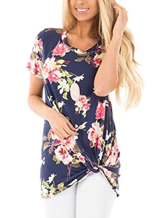 Chase Secret Womens Floral Printed Knot Front Tee Shirt Tunic Medium Navy