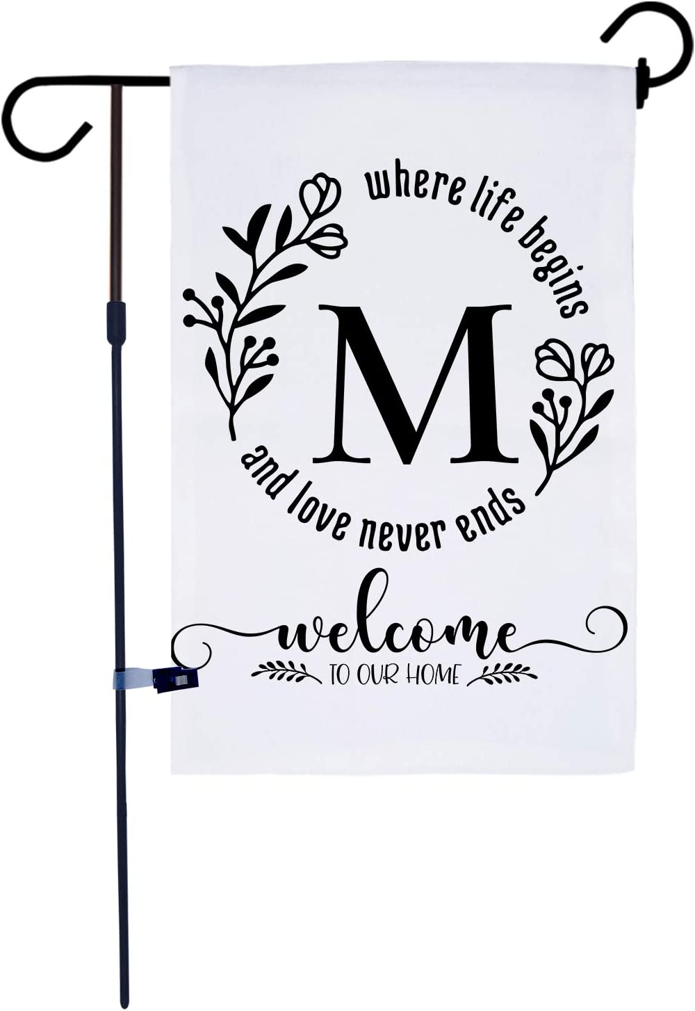 AKPOWER Small Garden Flag Vertical Double Sided 12 x 18 Inch Farmhouse Burlap Yard Outdoor Decor Classic Monogram Letter M