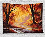 paint colors for living rooms Ambesonne Country Tapestry, Paint of a Forest with Autumn Color Leaves Fall Time Sadness Season Theme Art, Wall Hanging for Bedroom Living Room Dorm, 60 W X 40 L Inches, Orange Brown