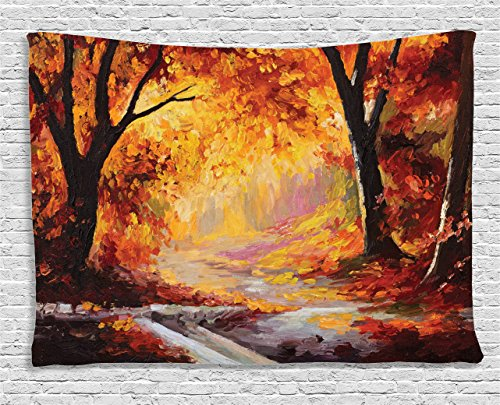 Country Tapestry by Ambesonne, Paint of a Forest with Autumn Color Leaves Fall Time Sadness Season Theme Art, Wall Hanging for Bedroom Living Room Dorm, 80 W X 60 L Inches, Orange Brown Fall Colors Leaves