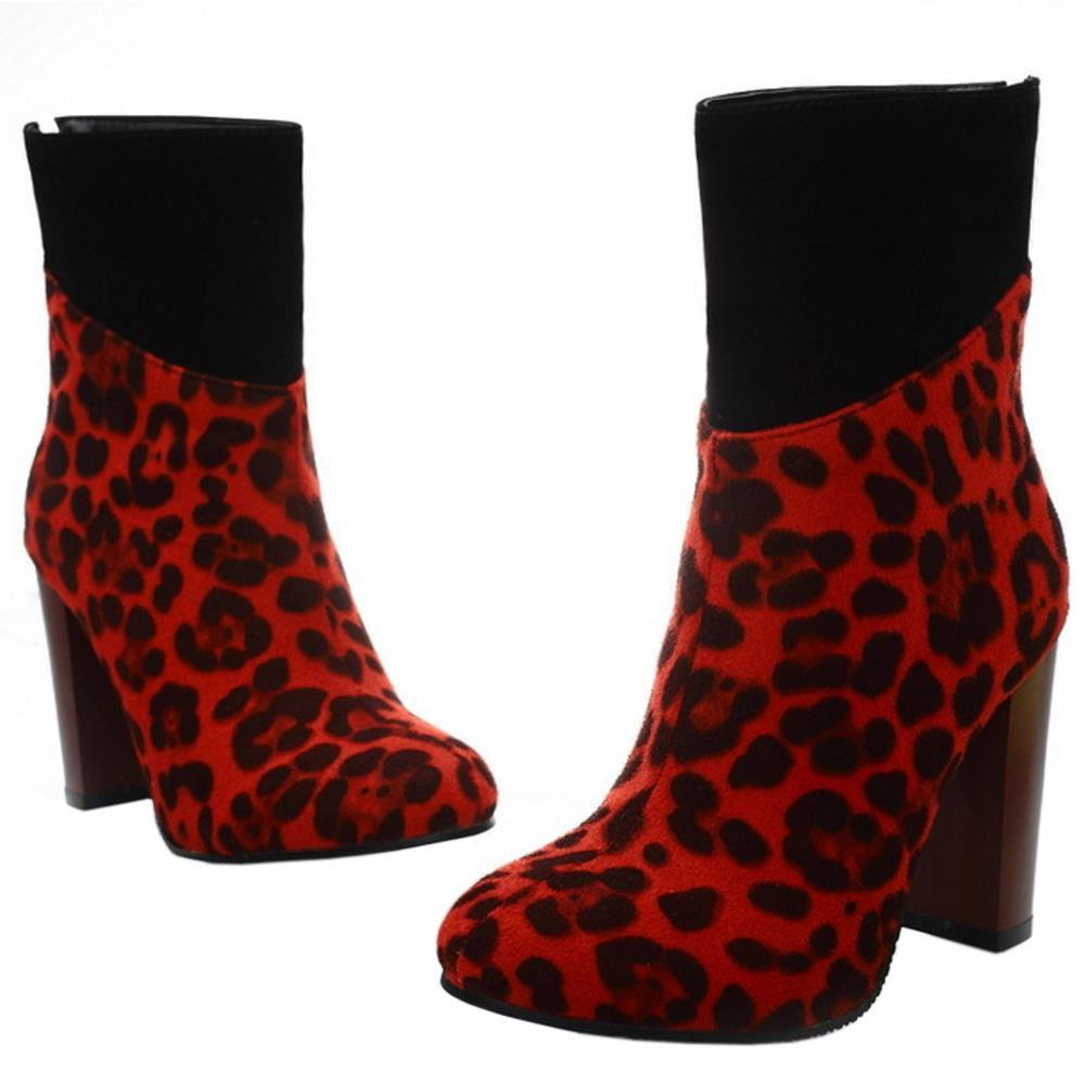 Haut Leopard Bloc Talon Femmes Coolcept Bottines Bottes Mode aq7vPW6w