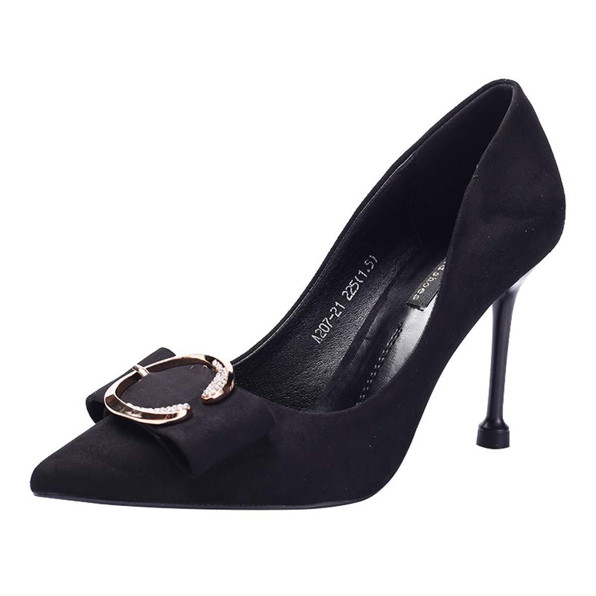 HBDLH Damenschuhe Schöne Schuhe Bögen 9Cm High High High Heels Spitze Wildleder 100 Sätze Einzelne Schuhe Metall Schnallen Mode Damenschuhe d9fc26