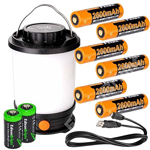 Fenix CL30R 650 lumen USB rechargeable camping lantern / work light, 6 X 18650 rechargeable batteries with Two back-up use EdisonBright CR123A Lithium Batteries long duration bundle by EdisonBright