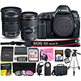 Canon EOS 5D Mark IV Digital SLR Camera (Wi-Fi, GPS) ESSENTIAL Multi-Lens STARTER Kit with Camera Body, EF 16-35mm f/4L IS USM Lens, EF 24-105mm f/3.5-5.6 IS STM Lens & Camera Works Accessory Bundle