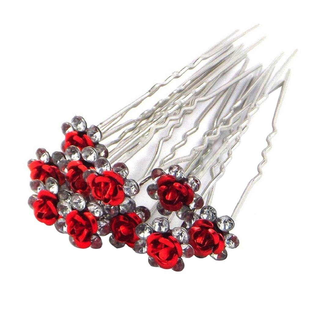 10 Pcs Women Fashoin Silver Plated Rhinestone Rose Flower Hair Pin Clip Hairpin (Red) DAEDALUS