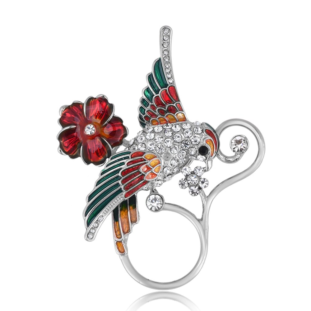 BEICHUANG Clear Crystal Colorful Bird on Red Flower Pretty Vine Eyeglass Holder Magnetic Brooch Pin (silver)