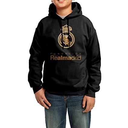 Unisex real-madrid-logo Youth sudadera con capucha, XL, Negro