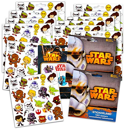 Star Wars Stickers Party Favors ~ Set of 2 Sticker Packs ~ Bundle Includes 18 Sheets over 350 Stickers plus Star Wars Tattoos -Darth Vader, Storm troopers, Chewbacca]()