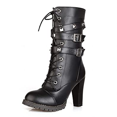 76f4fc9f1 Wallhewb Studded Motorcycle Boots Black Skinny Ladies Dress Joker Around  Ankle Easy to Match Rubber Sole