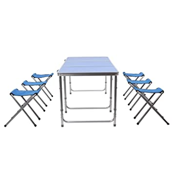 HOMFA Mesa plegable camping Mesa playa Mesa de jardín Mesa para picnic con 6 sillas ajustables Mesa para acampada Azul 180x60x55cm 30 kg