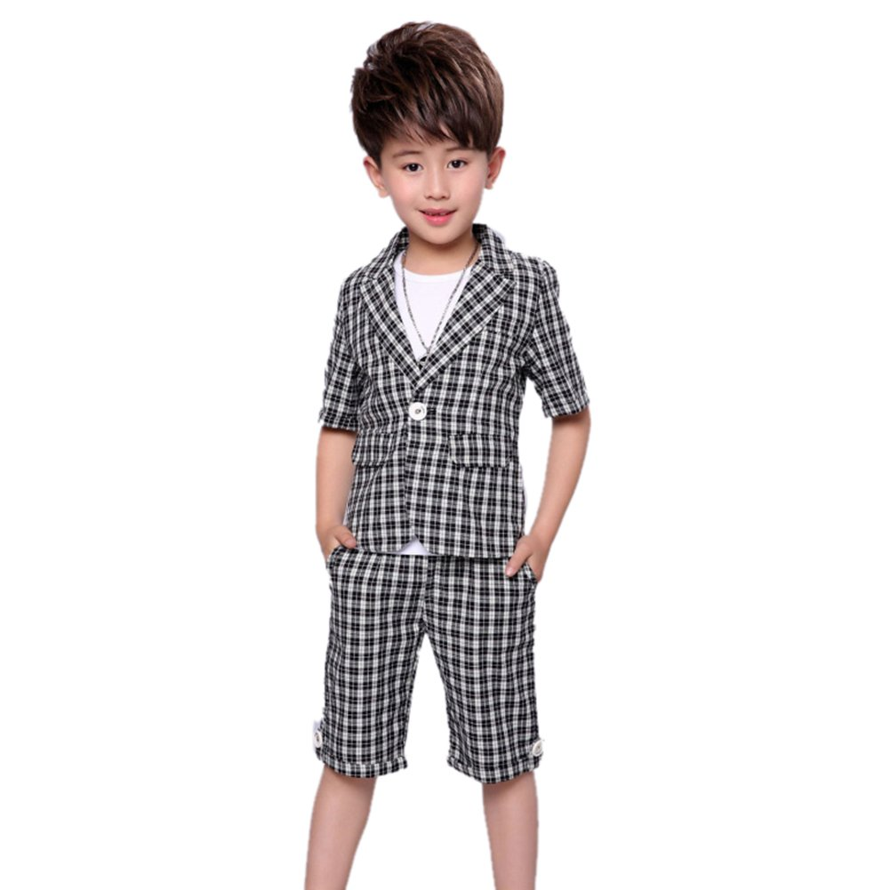 Uwback Uwaback Boys Plaid Summer Suits Kids 2Pcs Short Sleeve Blazer Shorts Gray CN 130