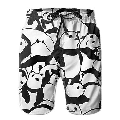 Gergeos Shorts Mens Summer Swim Trunks Quick Dry Holiday Panda Printing Beach Shorts