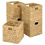 Best Choice Products Set of 5 Foldable Handmade Hyacinth Storage Baskets w/Iron Wire Frame - Natural