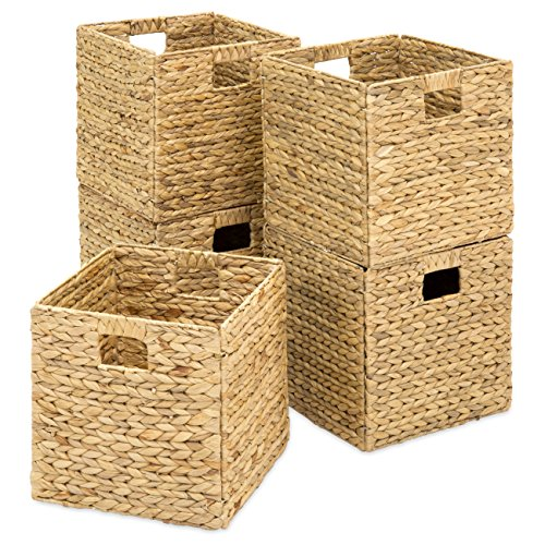 Best Choice Products Set of 5 Foldable Handmade Hyacinth Storage Baskets w/Iron Wire Frame - Natural -