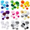 """WYZworks Single (Assorted Mixed Color Pack) 8"""" 10"""" 12"""" Tissue Pom Poms Flower Party Decorations for Weddings, Birthday, Bridal, Baby Showers Nursery Décor"""