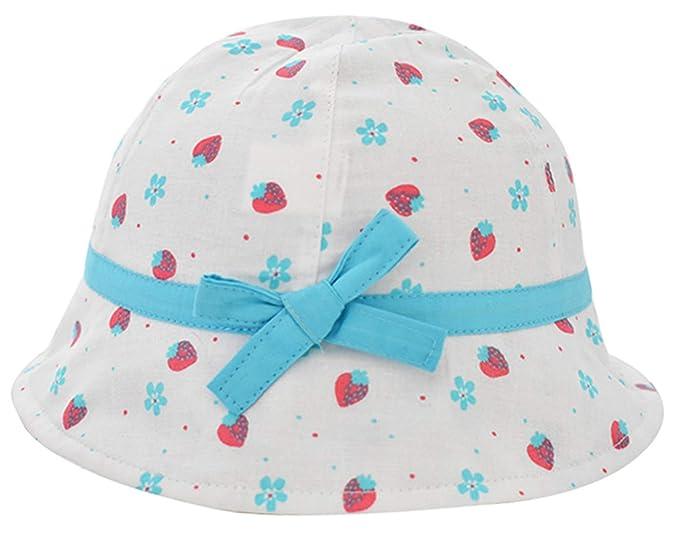 Happy Cherry - Sombrero Pescador para Bebés Recien Nacido Niñas 0 Meses-4 años Suave Gorro de Sol con ala Infantil para Playa Verano