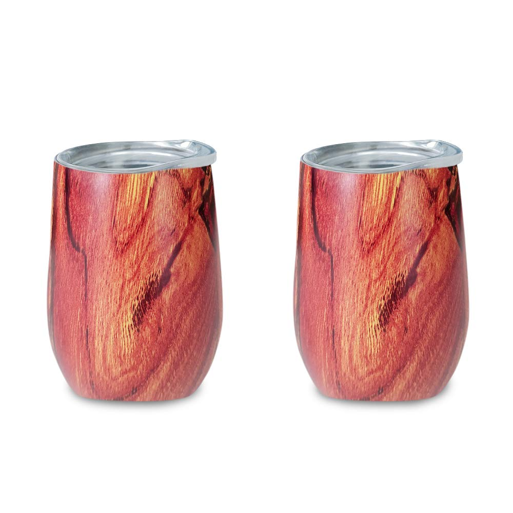Zen lnspired Wood Print Double Insulated Stainless Steel Wine Tumbler, Environmental Friendly, Unbreakable Perfect For Wine, Coffee, Tea, Indoor Or Outdoor, Bonus Pack 2 In A Set, 12oz