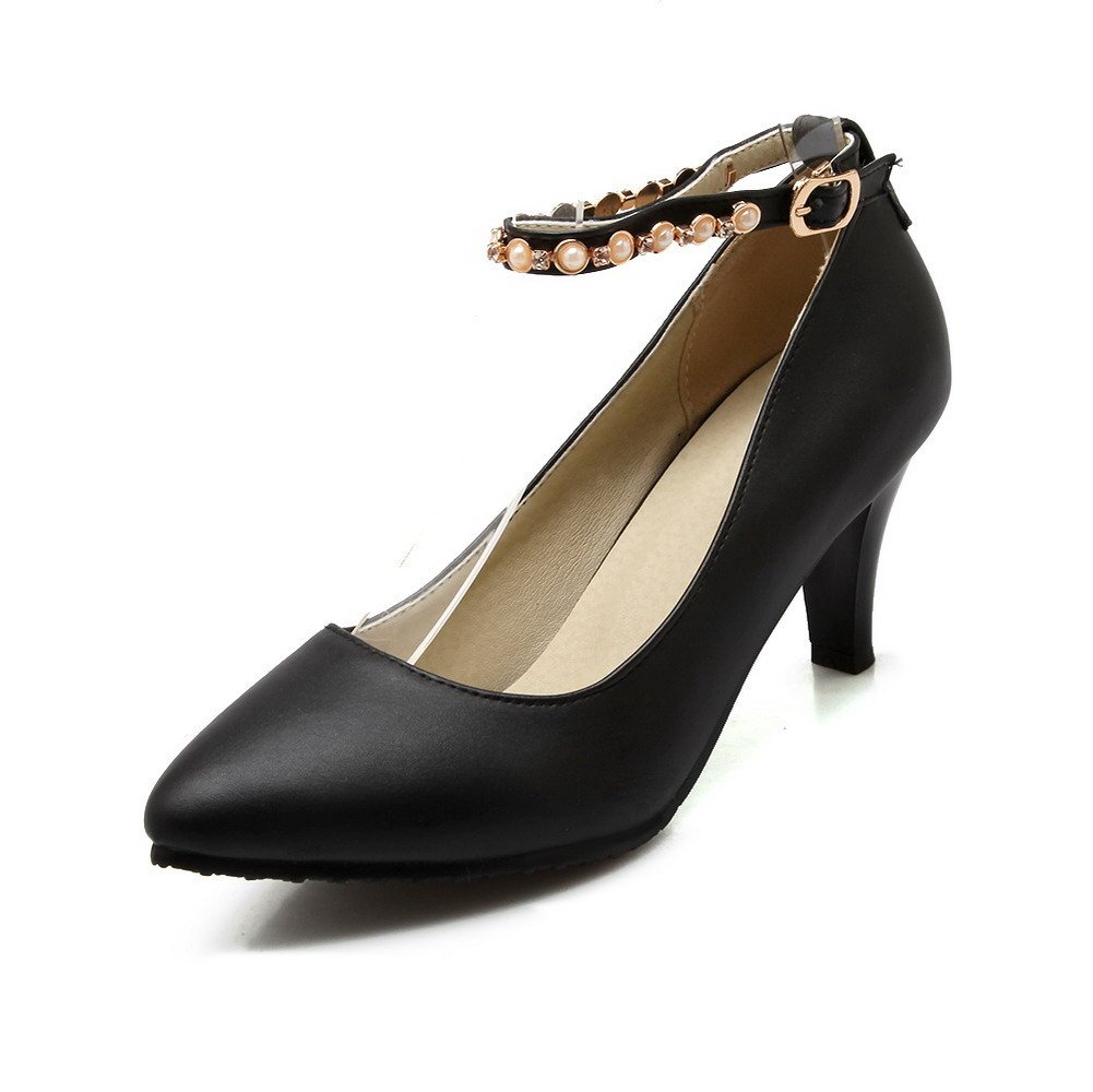 WeiPoot Women's High-Heels Soft Material Solid Buckle Pointed Closed Toe Pumps-Shoes, Black, 34 by WeiPoot