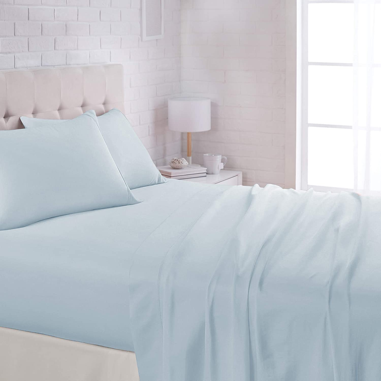 "AmazonBasics Lightweight Super Soft Easy Care Microfiber Bed Sheet Set with 16"" Deep Pockets - Queen, Light Blue"