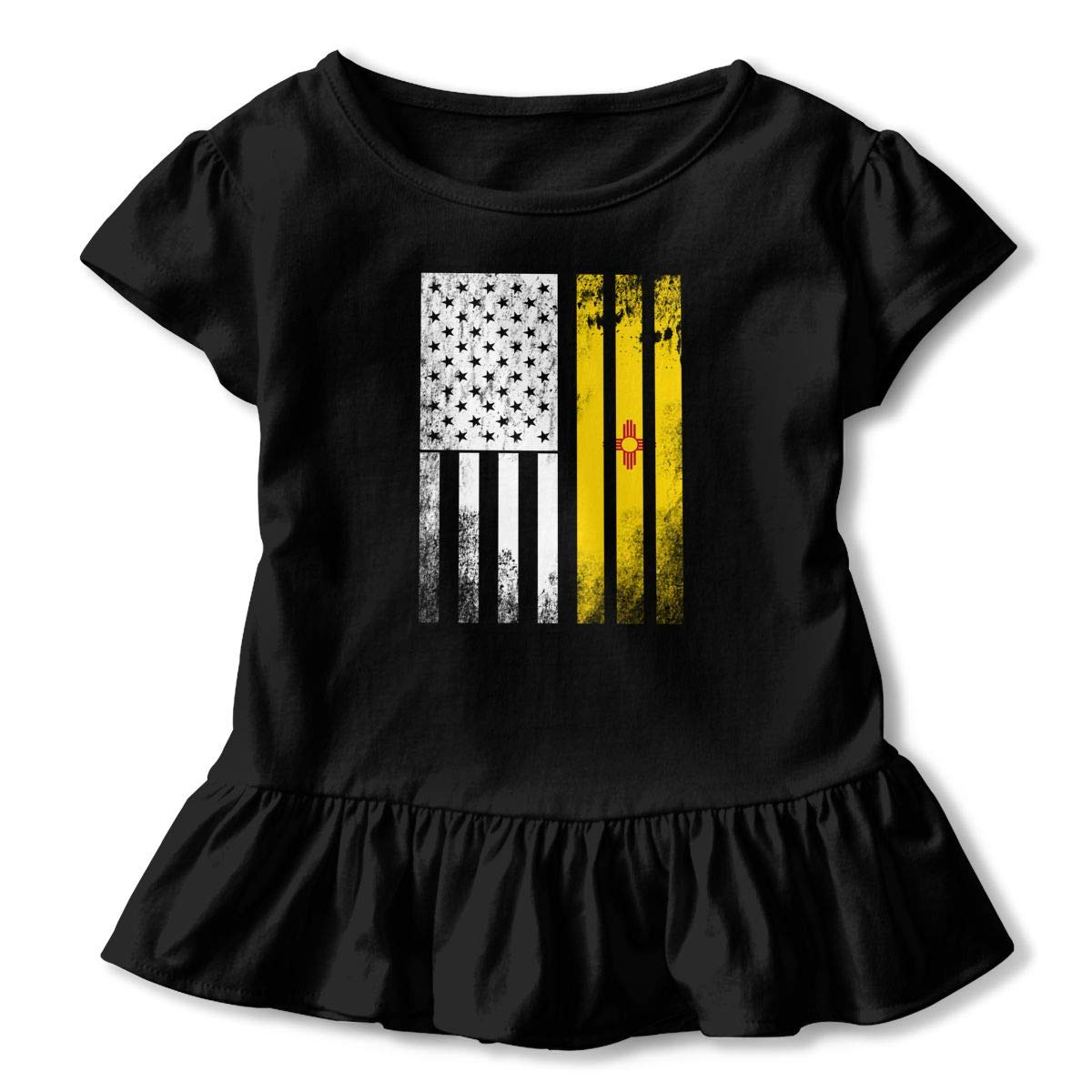 USA Vintage New Mexico State Flag Toddler Baby Girls Short Sleeve Ruffle T-Shirt