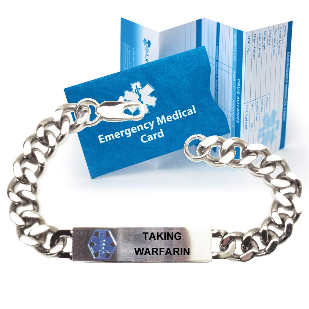 Pre-Engraved Taking Warfarin Traditional Stainless Steel Medical ID Bracelets for Men
