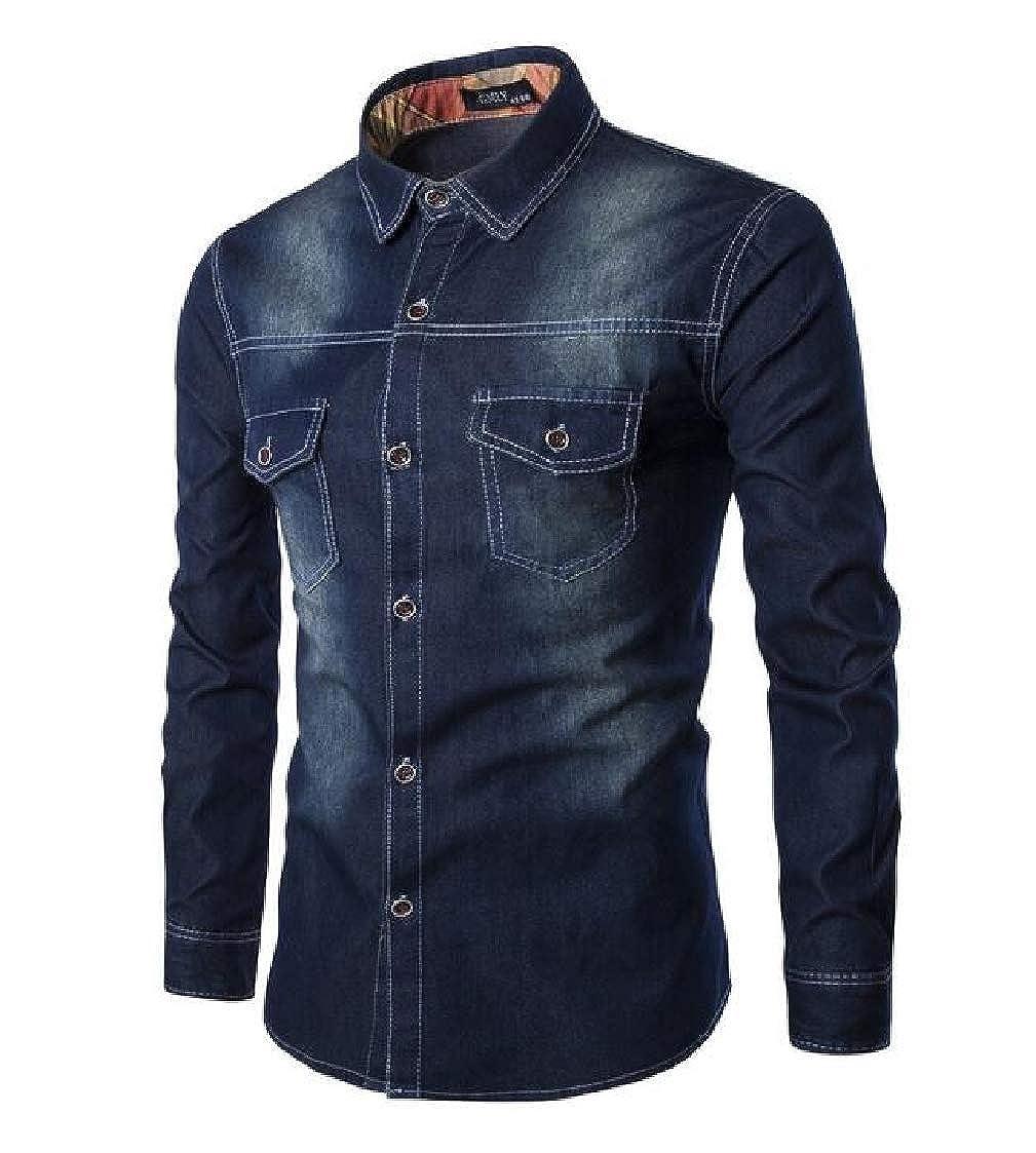 Nanquan Men Washed Long Sleeve Button Front Big /& Tall Slim Fit Western Denim Shirt