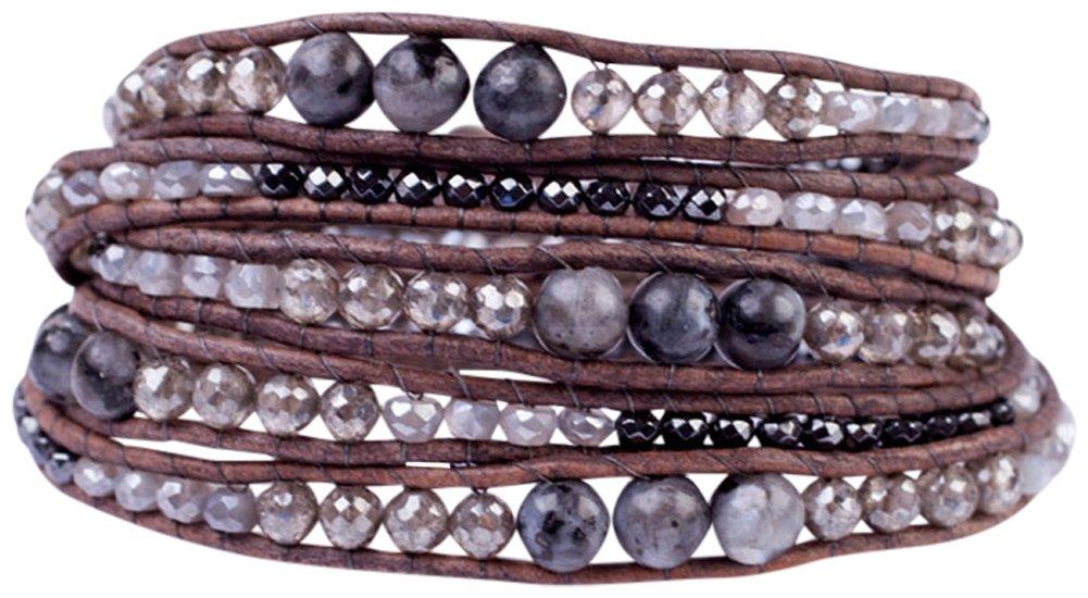 Chan Luu Black Labradorite Mix of Semi Precious Stones and Nuggets Dark Brown Leather Wrap Bracelet