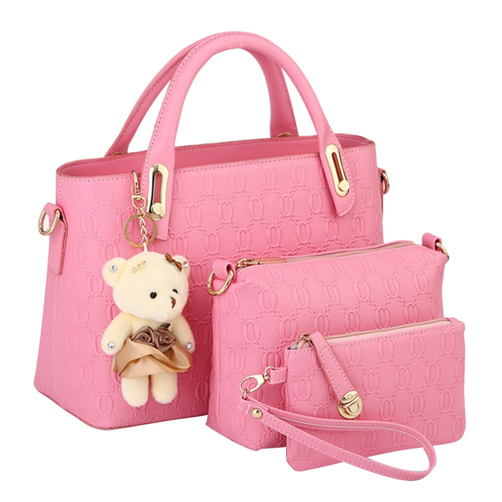 Minofious Handbags 3 Sets Women Shoulder Bag Office Wallet PU Tote Purse Bags with Bear Pendant