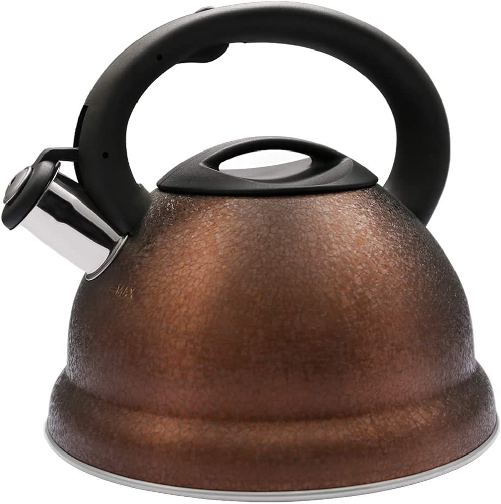 VICALINA Tea Kettle Stove Top Whistling Kettle With Anti Hot Handle Food-Grade Tea Pot 3.2-QT/3.0-L (Brown)