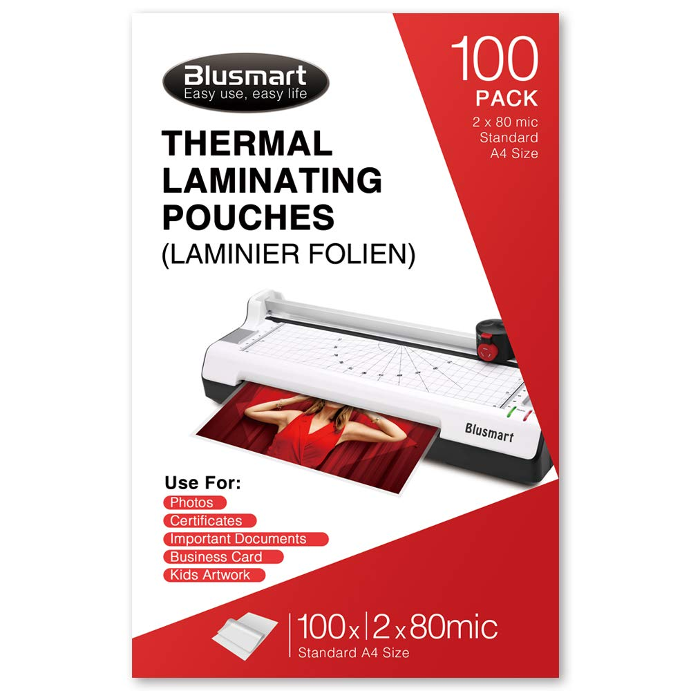 Blusmart Premium Thermal Laminating Pouches, 9'' x 11.5'', Letter Size, 6Mil(3Mil x 2) / 160Mic (80Micx 2) Thick, 100-Pack