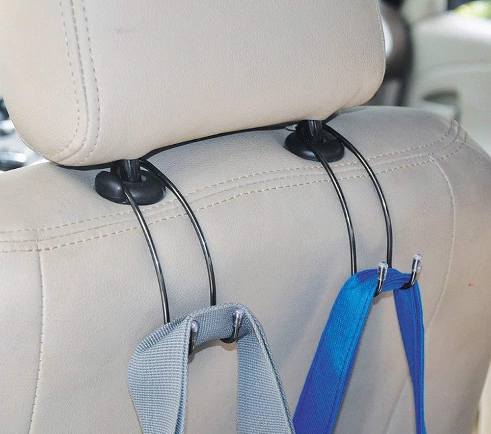 and Grocery Shopping Bags Gechiqno 2 Pack Car Seat Headrest Hooks Coats Vehicle Backseat Headrest Hanger Holder Universal Storage for Handbags Black-Stainless Steel-2 Purses