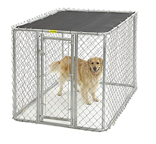 MidWest Homes for Pets Chain Link Portable Kennel with a Sunscreen, 6 by 4 by 4-Feet