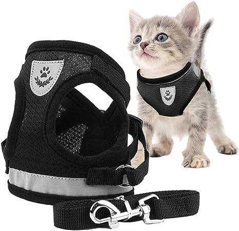 Toulifly Arnés Gato,Arnés para Gatos,Arnés y Correa para Gato,Cat Harness,Cat Vest Harness, Ajustable Respirante Pequeña Chaleco para Cachorros, ...