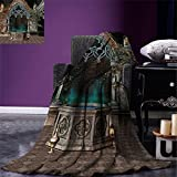 smallbeefly Gothic Digital Printing Blanket Mystical Patio with Enchanted Wishing Well Ivy on Antique Gateway to Magical Forest Summer Quilt Comforter Grey Teal