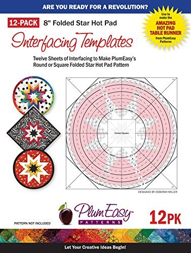 Folded Star 8-inch Hot Pad Interfacing Templates 12-pack: 12 Custom-printed 8.5'' X 11'' Interfacing Templates Made for Use with Plumeasy's Round or Square Folded Star Patterns by PlumEasy Patterns