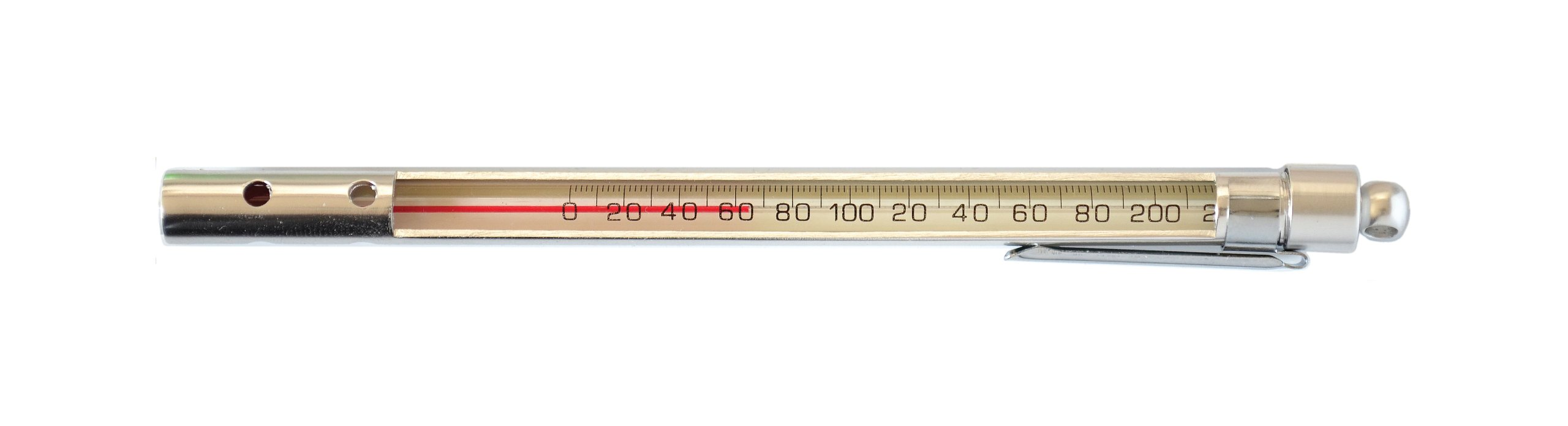 Thermco BM2012PS Red Spirit Filled Pocket Test Thermometer with Enclosed Aluminum Case, 30 to 120°F Range, 1.0°F Division, Total Immersion