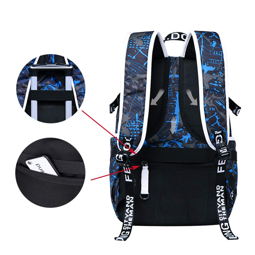 TnXan Printed Anti Theft Laptop Men Backpack Multifunction Travel Rucksack Man Shoulder Bag Waterproof Student School Bag Male Bagpack