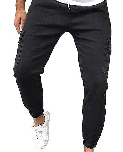 d2335dc3 ZAXARRA Men's Hip Hop Slim Fit Jogger Cargo Pants Trousers (US 28, Black)