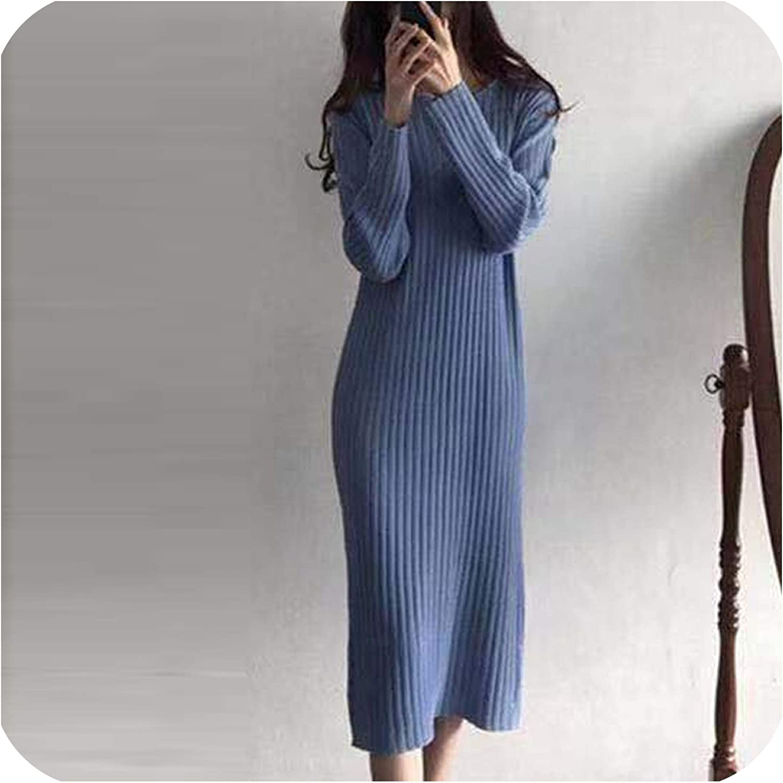 Women Knitted Long Dress Solid Sweater Dress Autumn Winter Knit Soft Midi Dress Blue One Size At Amazon Women S Clothing Store