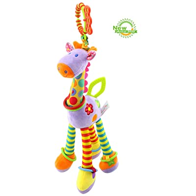 RichChoice Giraffe Baby Educational Toys:1-3-6-8 Month,1-2-3 Year Old Crib Bed,Car Seat, Stroller, Activity,Travel Hanging Toys;Kids Plush Portable Toys with Crinkle, Ring,Teether…: Toys & Games