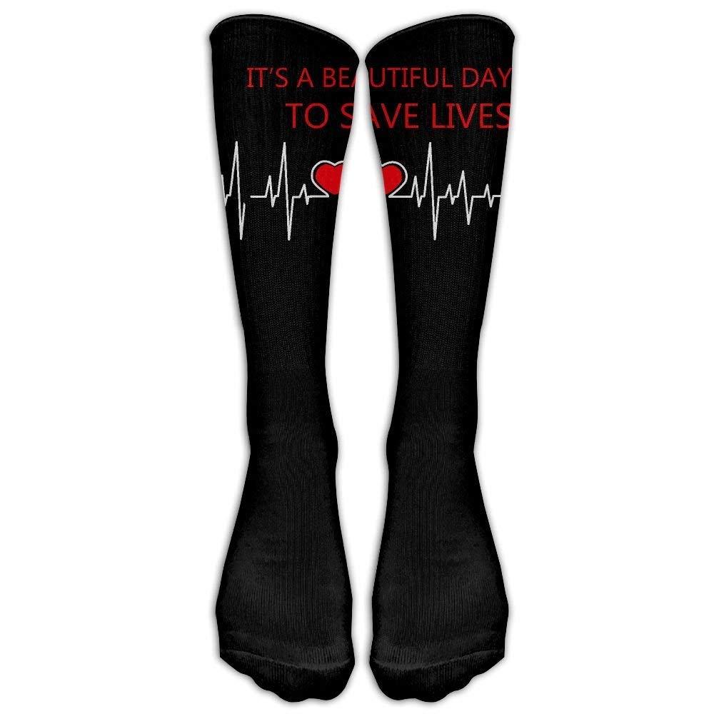 Unisex Grey's Anatomy It's A Beautiful Day to Save Lives Crew Fashion Novelty Socks