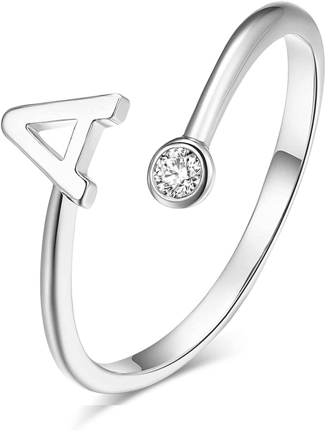 Silver Plated Initial 26 Alphabet Open Adjustable Mid Finger Ring Dainty Inlaid Crystal Jewelry