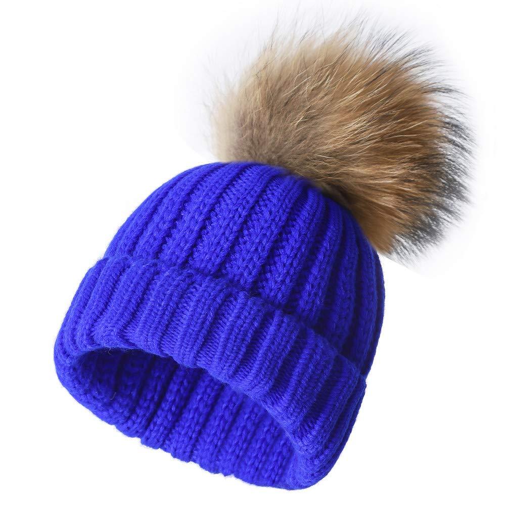 bluee Roniky Winter Knit Hat Real Fox Raccoon Fur Pom Pom Womens Girls Knit Beanie Hat